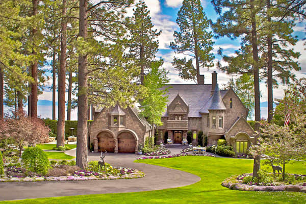 List Price: $22.85 million Size: 9,000 sq ft Bedrooms: 5 Bathrooms: 5.5 Sitting among towering pine trees, this home in Nevada's Incline Village on Lake Tahoe is 2011's most romantic home in America for both its interior and exterior features. The gated estate is on 1.7 acres of woodland with a private beach, pier and deepwater buoy. The home features a formal dining room, wine cellar, several patios, walking paths, night-lighted entertainment areas, a heated pool and a waterfall. The home's win