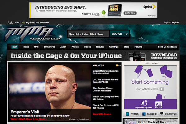 On July 15, 2009, AOL purchased mixed martial arts site MMAFighting.com, which added content to its existing sports hub FanHouse.com. The terms of the acquisition were not disclosed.