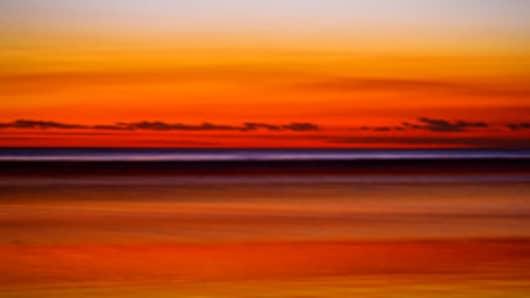 Indonesia, Bali, Seminyak Beach, sea after sunset