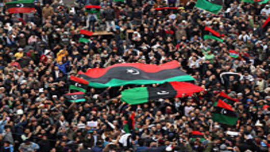 Libyan opposition supporters demonstrate in Benghazi, Libya.