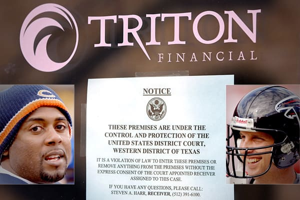 When Texas investment firm Triton Financial wanted to solicit business from professional athletes, it hired a bevy of former NFL players to help make the pitch. The firm's roster included former NFL quarterbacks Jeff Blake (inset, left) and Ty Detmer (inset, right), Koy Detmer and Chris Weinke.In December 2009, Triton Financial was sued by the SEC for defrauding investors in a multimillion dollar insurance scam. The SEC's lawsuit focused on Triton Insurance, the firm's main fundraising vehicle,