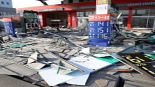 A damaged gas station shows the destruction after the earthquake struck on March 11