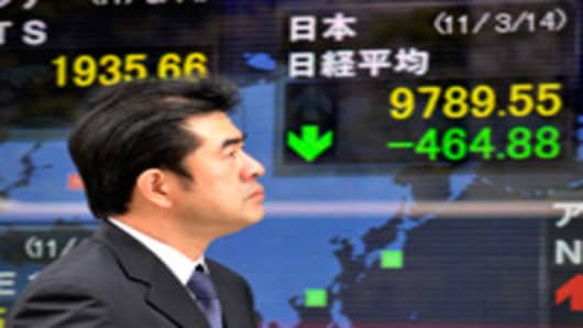 Shares in Tokyo dropped following the deadly March 11 earthquake and tsunami