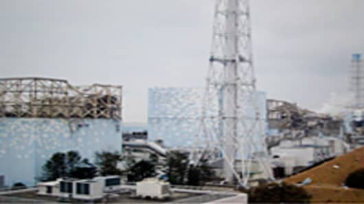 Fukushima nuclear power plant shown on March 15, 2011 following earthquake and tsunami, Japan, Tokyo Electric Power Co.