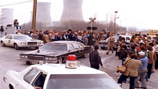 President Jimmy Carter leaving Three Mile Island for Middletown, Pennsylvania April 1,1979.