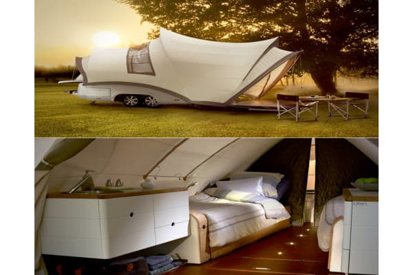 "Price: €29,370,00; approx. $41,165 USD Technically this is a trailer, but it doesn't behave like one. Get a load of this thing—It's a mini-Sydney Opera House that you can bring into the forest! Also: it's heated. The Opera is made by YSIN and has a teak veranda, an external shower, two electrically adjustable beds that can convert into one, hot running water, a ceramic toilet, a refrigerator, and low-energy LED lighting. Created in the Netherlands and marketed as a ""mobile holiday package,"" the"