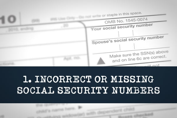 When entering SSNs for anyone listed on your tax return, be sure to enter them exactly as they appear on the Social Security cards. If they're wrong, the IRS could disallow exemption,s credits and deductions.