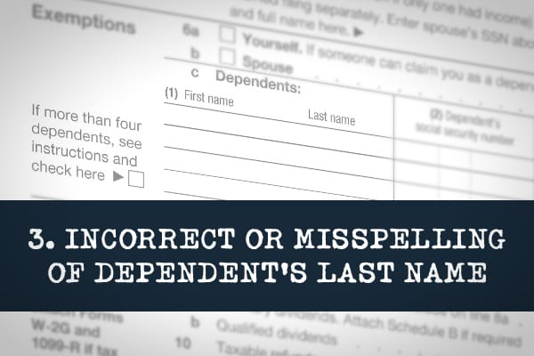 When entering a dependent's last name on your tax return, ensure they are entered exactly as they appear on their Social Security card. Also, make sure they qualify. If they don't have Social Security numbers, the IRS may disallow any exemptions.