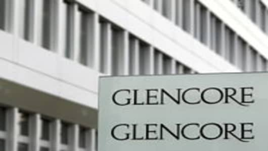 The Glencore logo seen in front of the Swiss commodities giant's headquarters in Baar.