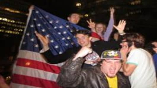 Celebrations at ground zero after news that Osama bin Laden had been killed