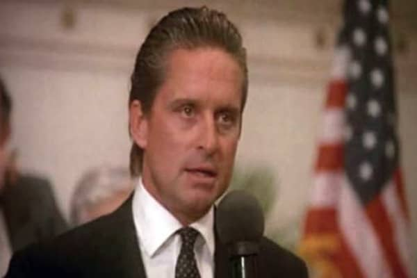 Oliver Stone intended his 1987 film Wall Street to be an indictment of American capitalism during the Reagan decade. However, in one of the movie's , he may have inadvertently given a daily mantra to the exact people he was trying to vilify.The scene depicts Gordon Gekko, a stockbroker played by Michael Douglas. A hybrid of Ivan Boesky and Michael Milken, he becomes mentor to a young trader named Bud Fox, played by Charlie Sheen. Gekko gives a speech in which he outlines his sentiments about gre