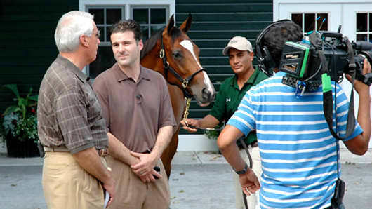 Darren in 2009 with the horse that became Plum Pretty.