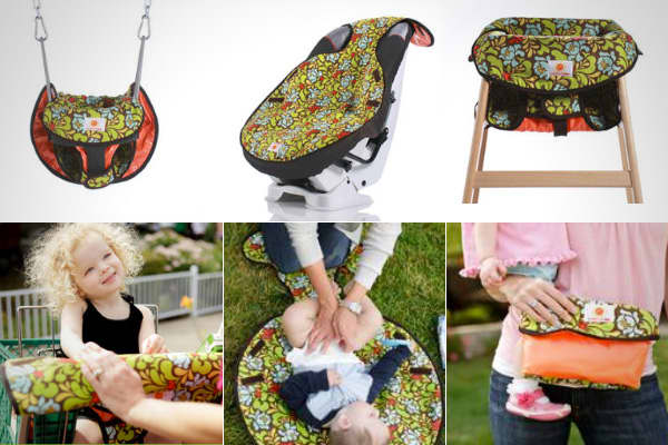 The  is a pad that you can use five ways – in a restaurant high chair, on a swing, in a car seat, in a grocery cart or as a changing pad – to protect your child. It's heat resistant, water resistant and germ-resistant. It was invented by a stay-at-home mom after her daughter was accidentally burned on a swing that had been overheated by the sun. She funded the idea with her own money and hired a seamstress to come up with the prototype. Though this clever mom originally intended the Cool Wazoo a