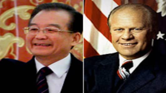 Wen Jiabao and Gerald Ford
