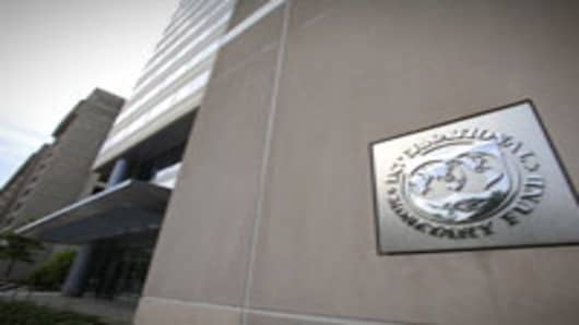 The International Monetary Fund (IMF) headquarters building is seen in Washington, DC.