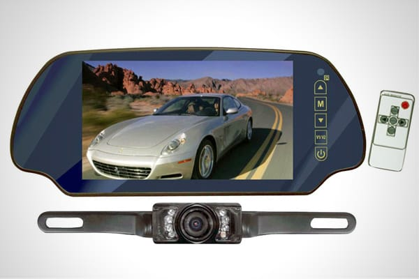 "MSRP: $193.99 This anti-glare rear-view mirror is really a 7"" monitor capable of showing live video from a license-plate-mounted night-vision camera. Carlton explains why the monitor, made by Pyle Audio, is so handy: ""When reversing into tight spots, your rear view mirror 'automagically'converts into a screen with a night vision view of what's behind you. How cool is that?"" It can also be used as a monitor for a DVD player or a video game."