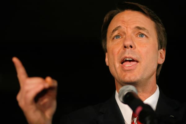 """North Carolina senator John Edwards had served only a portion of his one term in the US senate before running for president in 2004. He lost the nomination, but was selected as Democratic nominee John Kerry's running mate. The duo was dubbed """"Kedwards,"""" a la """"Bennifer"""" and """"Brangelina,"""" and went on to lose the election to incumbent president George W. Bush. His wife, the late Elizabeth Edwards, was considered his best political advisor. After Edwards' unsuccessful 2008 bid for the Democratic pre"""