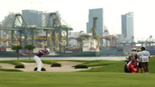 The Sentosa Golf Club overlooking one of the world's busiest ports in Singapore