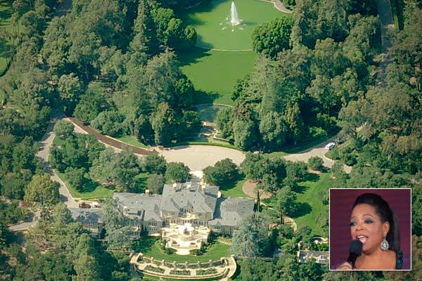 """Price: $50 millionLocation: Montecito, Calif.Beds/Baths: 6 bedrooms, 14 bathroomsSquare feet: 23,000Media titan Oprah Winfrey purchased her home in Montecito, Calif., in 2001. She has dubbed the mansion """"The Promised Land,"""" and, though accounts vary, the consensus is that she paid between $50 million and $55 million, then spent additional millions renovating it. The estate has both mountain and ocean views, 10 fireplaces and the landscaping features a rose hybrid specially bred over five years b"""