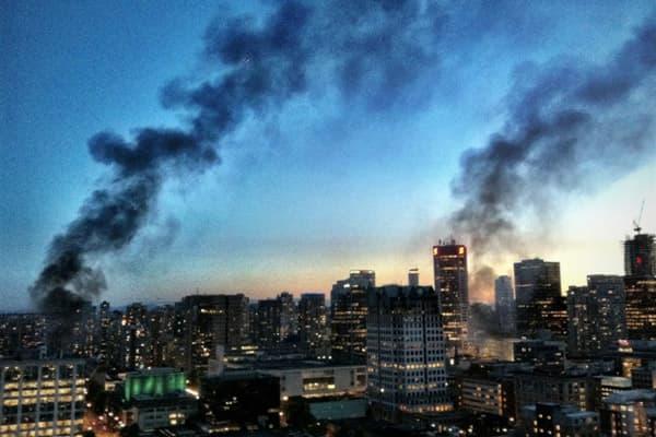 Vancouver skyline on fire