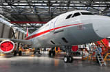A Sichuan Airlines A320 jet inside a hangar at the Airbus Tianjin factory in Tianjin, northern China.
