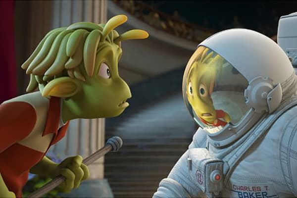 "Box office: $42,194,060 Plot: When Earth astronaut Capt. Chuck Baker arrives on Planet 51 -- a world reminiscent of American suburbia circa 1950 -- he tries to avoid capture, recover his spaceship and make it home safely, all with the help of an empathetic little green being. Starring: Dwayne Johnson, Jessica Biel ""An alien has 'invaded' a provincial and paranoid suburban town. And the alien is us, a NASA astronaut who touches down, bounces out with his American flag…only to realize he's interru"