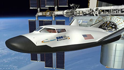 Artist rendering of the Sierra Nevada Corp. Dream Chaser, which justreceived $80 million from NASA. It is one of the new generation ofprivate-sector space vehicles that will carry humans and cargo to theInternational Space Station.