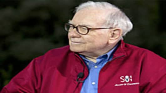 Warren Buffett during CNBC live interview in Sun Valley, Idaho