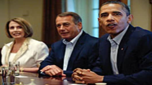 Barack Obama meets for budget talks with congressional leaders July 10, 2011 in the Cabinet Room of the White House in Washington, DC, including House Minority Leader Rep. Nancy Pelosi (L), and House Speaker John Boehner.