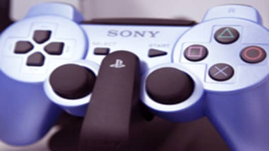 A DualShock 3 wireless controller for Sony Computer Entertainment Inc.'s PlayStation 3 (PS3).