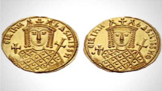 Gold coins of Byzantine emperor Constantine VI and his mother Irene from the 8th century.
