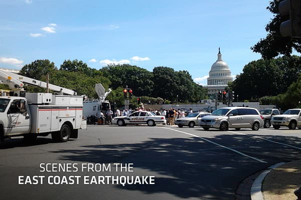 A 5.9 magnitude earthquake centered northwest of Richmond, Va., shook much of Washington, D.C., and was felt as far north as Rhode Island, New York City and Martha's Vineyard, Mass., where President Barack Obama is vacationing. The U.S. Geological Survey said the earthquake was half a mile deep. Shaking was felt at the White House and all over the East Coast, as far south as Chapel Hill, N.C. Parts of the Pentagon, White House and Capitol were evacuated. There were no immediate reports of injuri