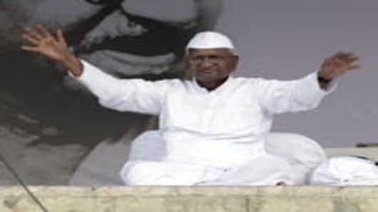 Anna Hazare during his fast against corruption at Ramlila Maidan in New Delhi on Sunday.