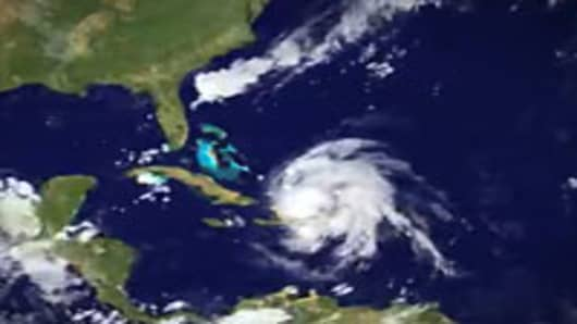 A satellite image from NOAA's National Hurricane Center tracking Hurricane Irene in the western Atlantic.