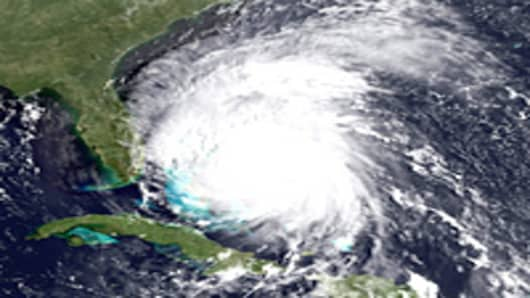 In this handout satellite image provided by the National Oceanic and Atmospheric Administration (NOAA), shows Hurricane Irene on August 25, 2011 in the Caribbean Sea.
