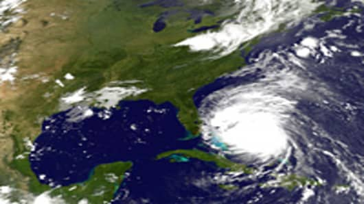 Hurricane In this handout satellite image provided by the National Oceanic and Atmospheric Administration (NOAA), shows Hurricane Irene on August 25, 2011 in the Caribbean Sea.
