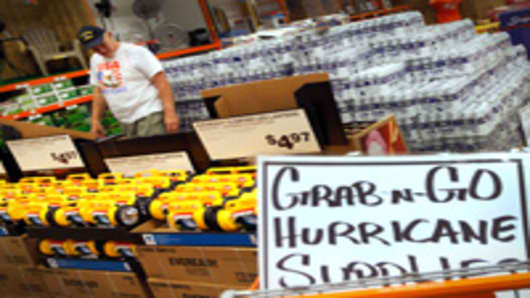 Jim Abel shops for hurricane supplies at Home Depot as he prepares for the possible arrival of Hurricane Irene on August 22, 2011 in West Palm Beach, Florida.