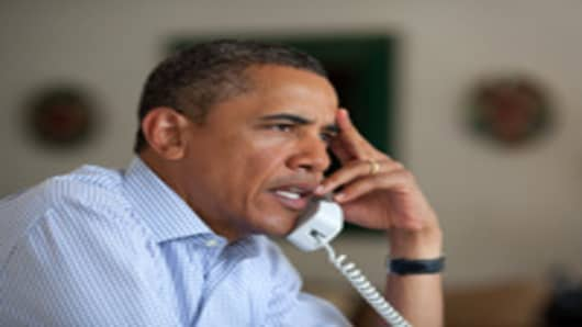 President Barack Obama holds conference call on Hurricane Irene with FEMA Director Craig Fugate, Homeland Security Secretary Janet Napolitano, Chief of Staff Bill Daley.