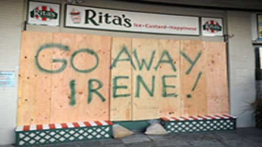 A boarded up storefront in Cape May, New Jersey. The Cape May Department of Emergency Management ordered the evacuation of all residents and visitors of Cape May County in anticipation of a direct hit by Hurricane Irene.
