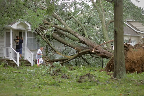 Richard Bunting and Alex Hamilton inspect a house that a large tree fell on after a tornado spawned by Hurricane Irene touched down, on August 28, 2011 in Lewes, Delaware.