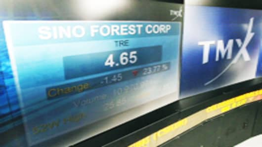 Sino-Forest Corp.'s trading price is shown on an electronic display at the Toronto Stock Exchange (TSX) in Toronto, Ontario, Canada