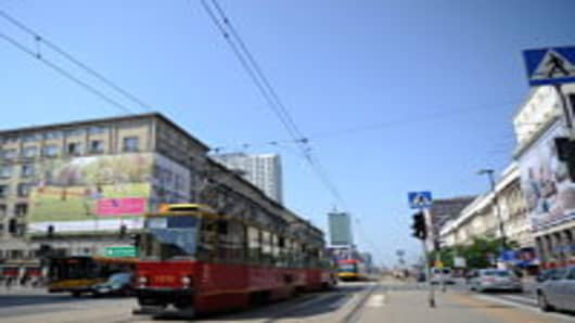 A tramway pass in the center of Warsaw on June 8, 2011. Poland and Ukraine will co-host the 2012 European Football Championship.