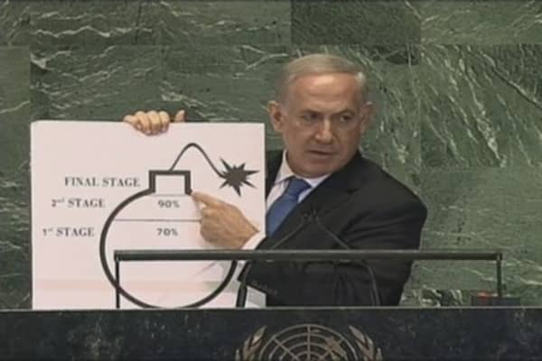 Netanyahu Addresses UN: Draws Red Line