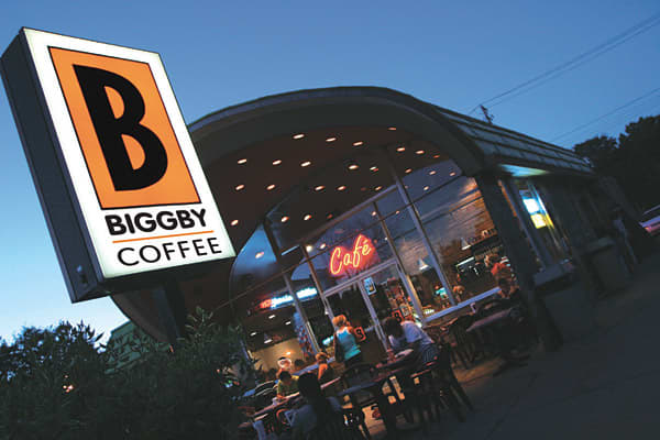 Stores: 1182010 Sales: $65 millionThe first Biggby location opened in East Lansing, Mich., in March 1995. Since then, the chain's units have doubled every two years, according to the company. In 2010, the chain grew from 110 locations to 118, a 7.3 percent increase, making it the fastest growing coffee chain in the country.