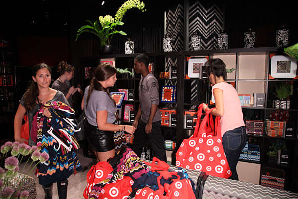 "Missoni, an Italian fashion house known for its zigzag patterns, created a pop-up store in Midtown Manhattan to promote Missoni xTarget, a 400-piece collection created for the discount retailer. A limited number of items were on sale from the collection ahead of the products' launch later this month. Hundreds of fans lined up, hoping to make a purchase. Target had been building buzz for the brand with a Tumblr-based marketing campaign, ""written"" by a 25-foot-tall mannequin named Marina. Marina,"