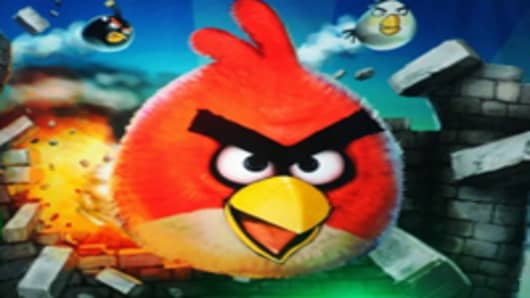 "Screenshot of global mobile gaming sensation ""Angry Birds"""