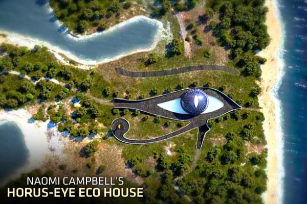 As lavish birthday gifts go, it's hard to top this one: Naomi Campbell received an island vacation home for her 41st birthday from her Russian billionaire boyfriend Vladislav Doronin, according to numerous online  It's shaped like the Egyptian Eye of Horus on a location known as Cleopatra Island in Turkey's Gulf of Gökova. Spanish Architect Luis de Garrido, who specializes in sustainable building, designed Eco-House Horus to be completely energy, water, and food self-sufficient. As with his othe