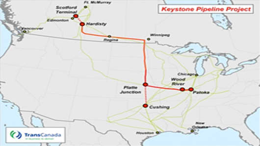 Map of the Keystone Pipeline Project.