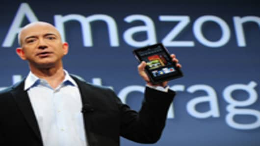 Amazon CEO Jeff Bezos introducing the new Kindle Fire tablet in New York. The Fire is expected to go up against Apple's iPad2.