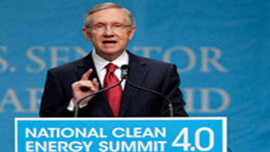 U.S. Senate Majority Leader Harry Reid (D-NV) speaks during the National Clean Energy Summit 4.0 on August 30, 2011 in Las Vegas, Nevada.